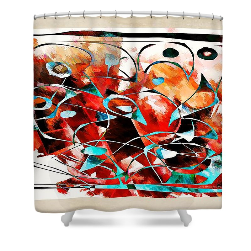 Abstraction Shower Curtain featuring the digital art Abstraction 3426 by Marek Lutek