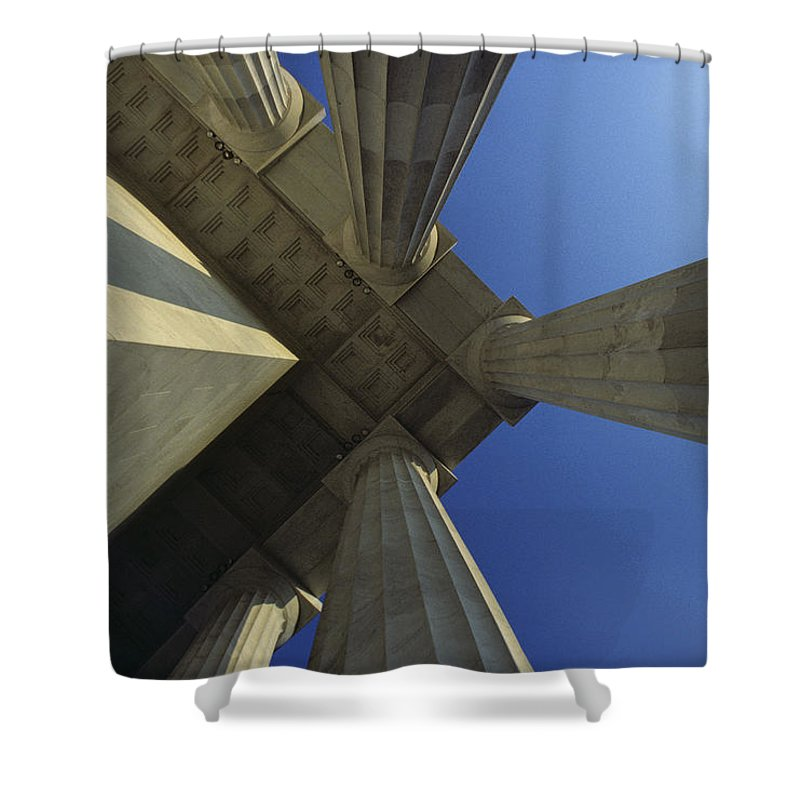 Abstract Shower Curtain featuring the photograph Abstrat View Of Columns At Lincoln by Kenneth Garrett