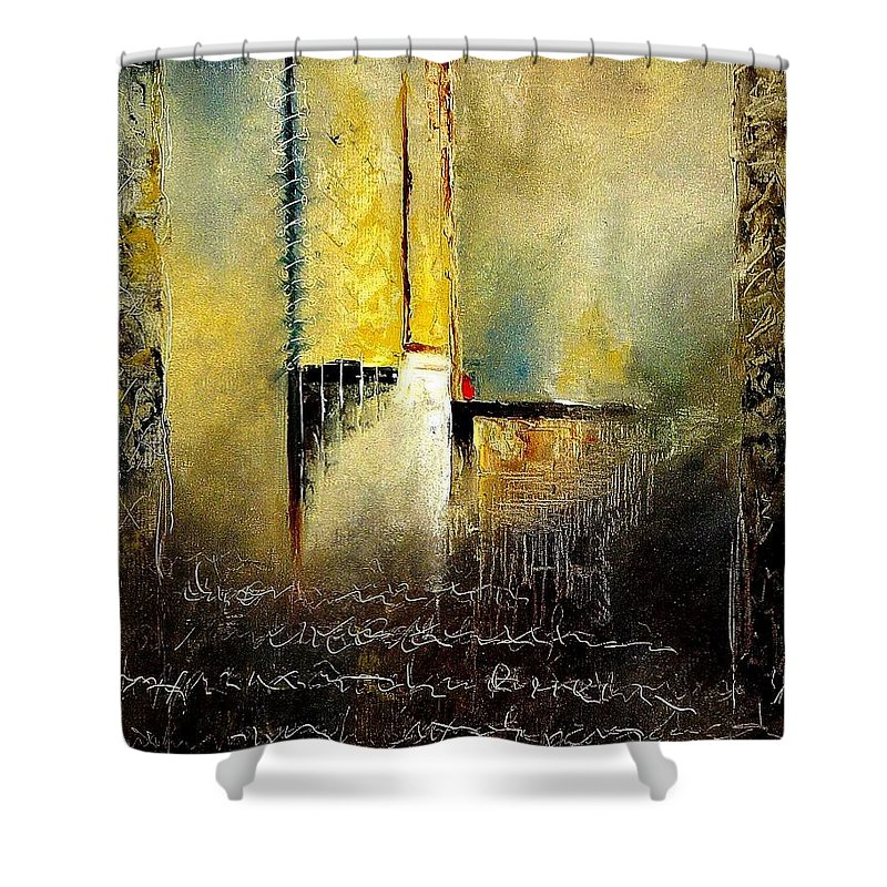 Abstract Shower Curtain featuring the painting Abstrct 3 by Pol Ledent