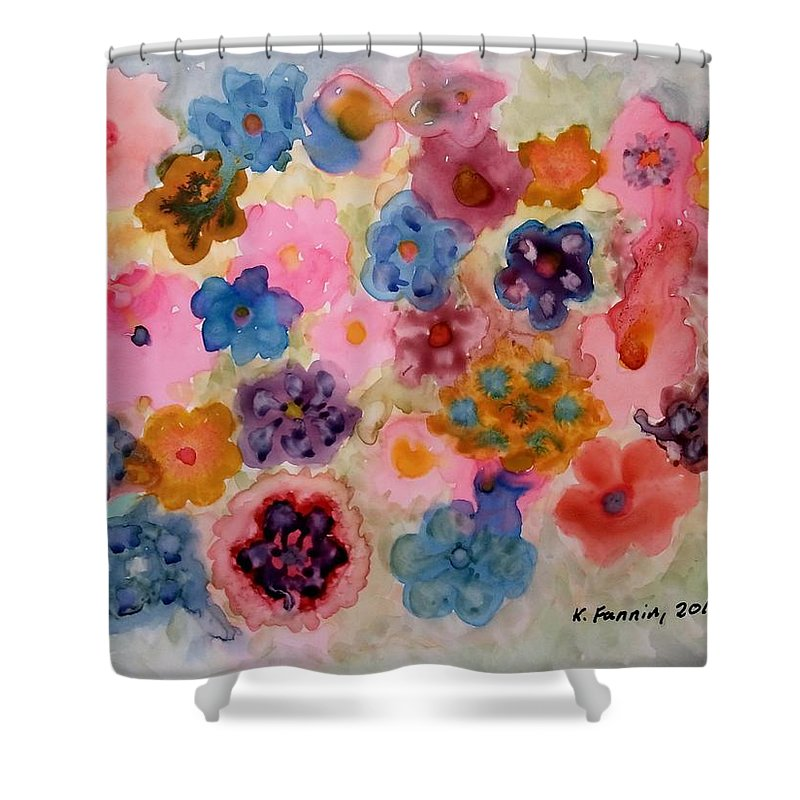 Flowers Shower Curtain featuring the painting Abundance by B Kathleen Fannin
