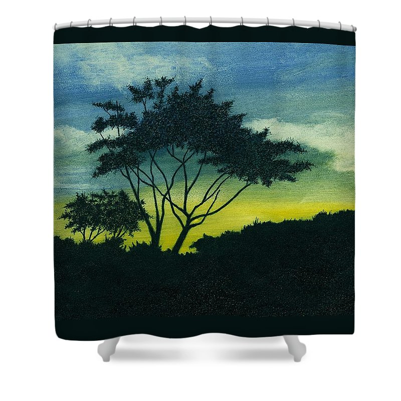 Tree Shower Curtain featuring the painting Acacia Tree by Michael Vigliotti