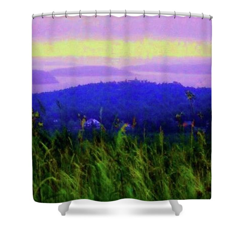 Acadia Shower Curtain featuring the mixed media Acadia Sunrise by Desiree Paquette