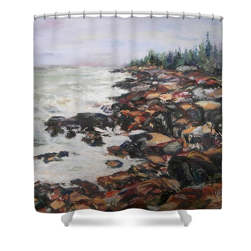 Acadia National Park Shower Curtain featuring the pastel Acadian Afternoon by Alicia Drakiotes
