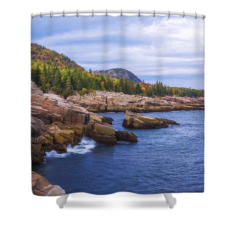 Acadia's Coast Shower Curtain featuring the photograph Acadia's Coast by Chad Dutson
