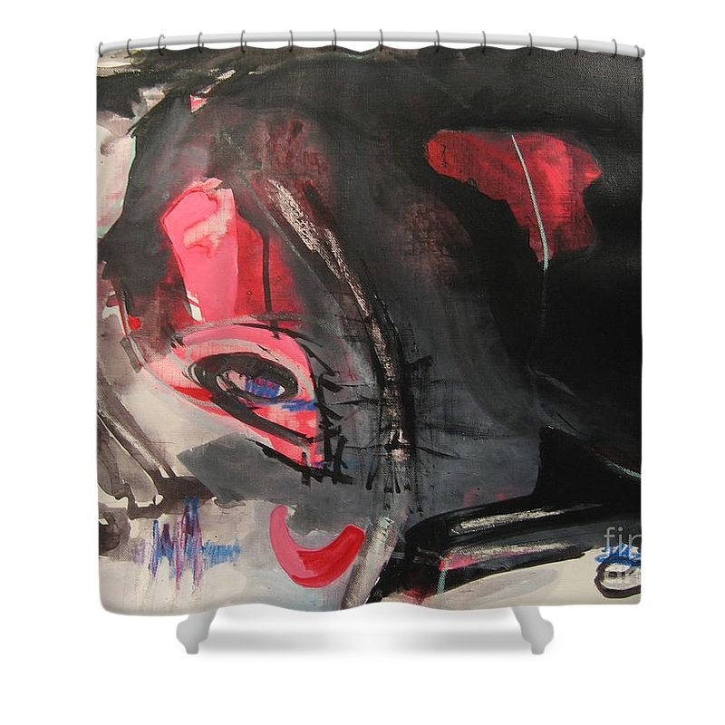 Abstract Paintings Paintings Abstract Art Paintings Shower Curtain featuring the painting Accessible To Nobody by Seon-Jeong Kim