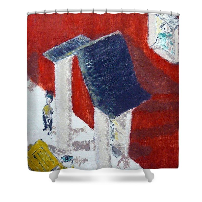 Social Realiism Shower Curtain featuring the painting Accessories by R B