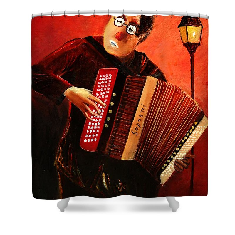 Music Shower Curtain featuring the print Accordeon by Pol Ledent