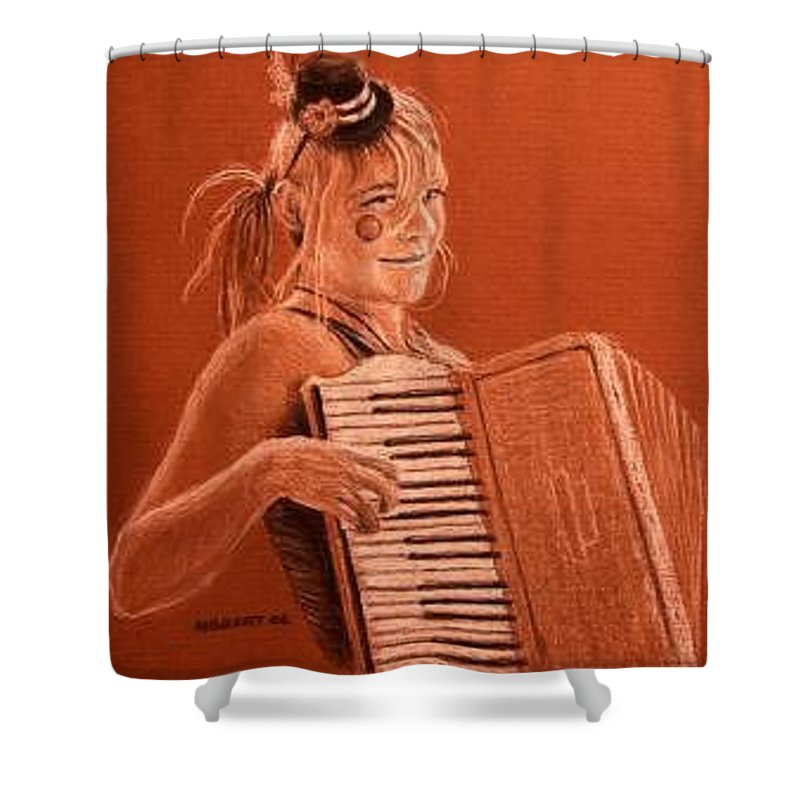 Accordion Shower Curtain featuring the drawing Accordion Girl by Michael Beckett