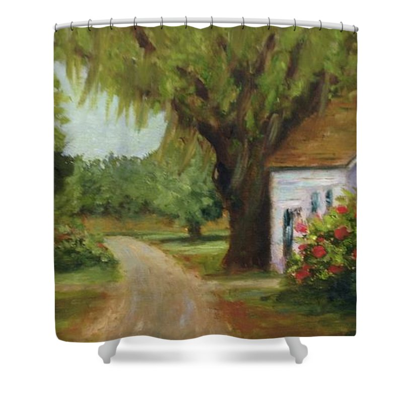 This Is A Little Out Building Off Of Grove Plantation Home At Ace Basin Close To Charleston Shower Curtain featuring the painting Ace Basin Cottage by Rosie Phillips