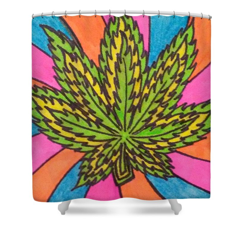 Marijuana Shower Curtain featuring the drawing Aceo Cannabis Abstract Leaf by Jill Christensen