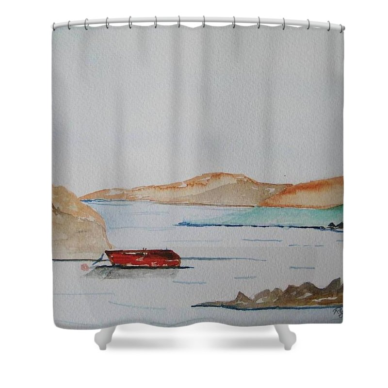 Ireland West Of Ireland Seaview Peaceful Day Shower Curtain featuring the painting Achill II by Roger Cummiskey