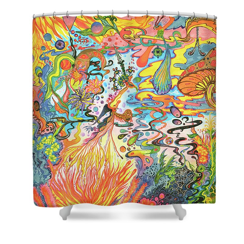 Psychedelic Landscape Shower Curtain featuring the painting Acid Dreams by Liz Baker