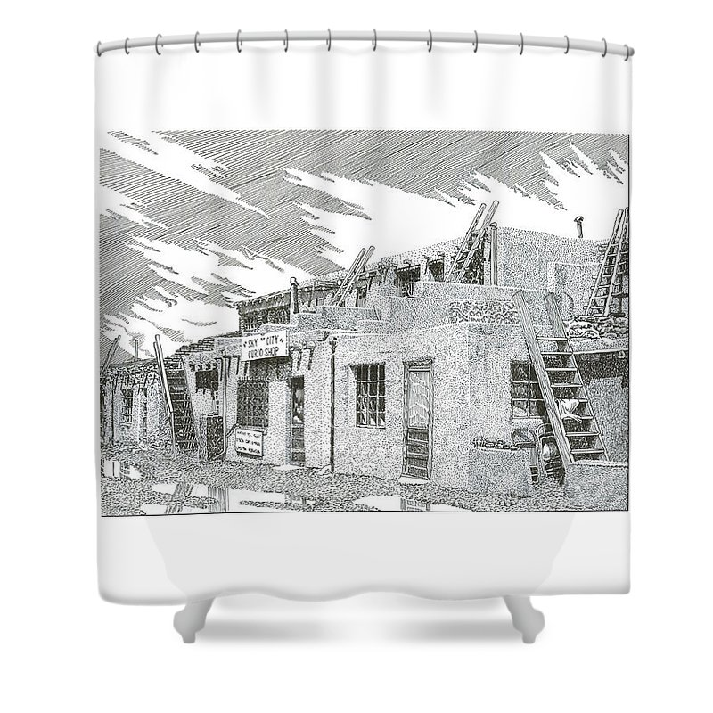 Images Of Acoma Sky City Acoma Shower Curtain featuring the drawing Acoma Sky City by Jack Pumphrey