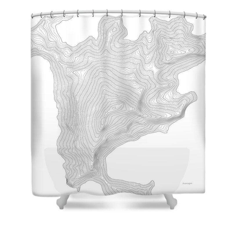 Topo Shower Curtain featuring the digital art Aconcagua Art Print Contour Map Of Mount Aconcagua In Argentina by Jurq Studio