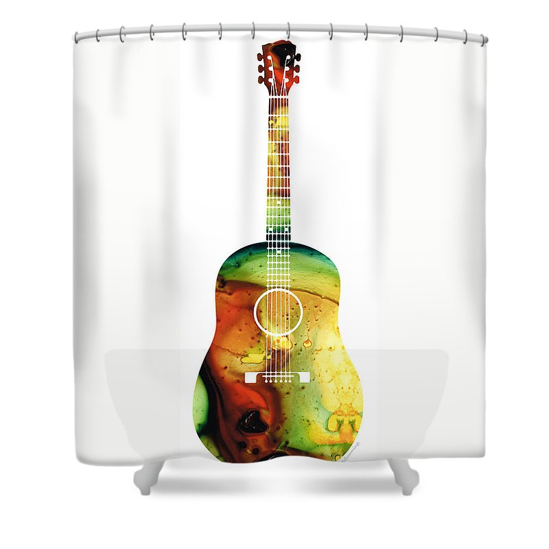 Guitar Shower Curtain featuring the painting Acoustic Guitar - Colorful Abstract Musical Instrument by Sharon Cummings