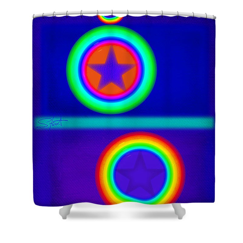 Balance Shower Curtain featuring the painting Acrobats Blue by Charles Stuart