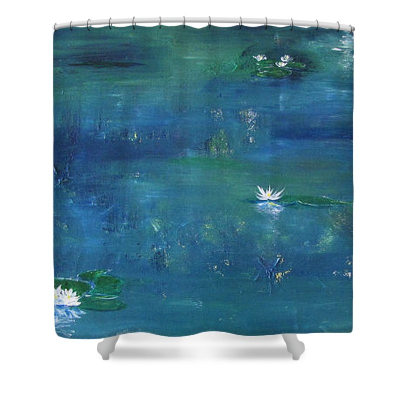 Lily Shower Curtain featuring the painting Across The Lily Pond by Gary Smith