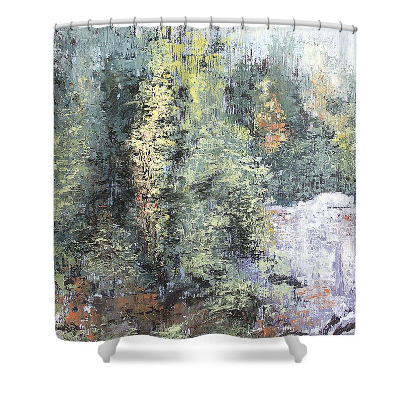 Landscape Shower Curtain featuring the painting Across The Ravine by Todd Blanchard