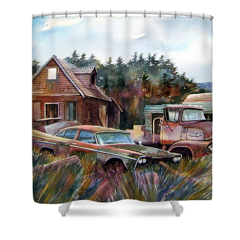 Cars Shower Curtain featuring the painting Across The Road And Gone by Ron Morrison