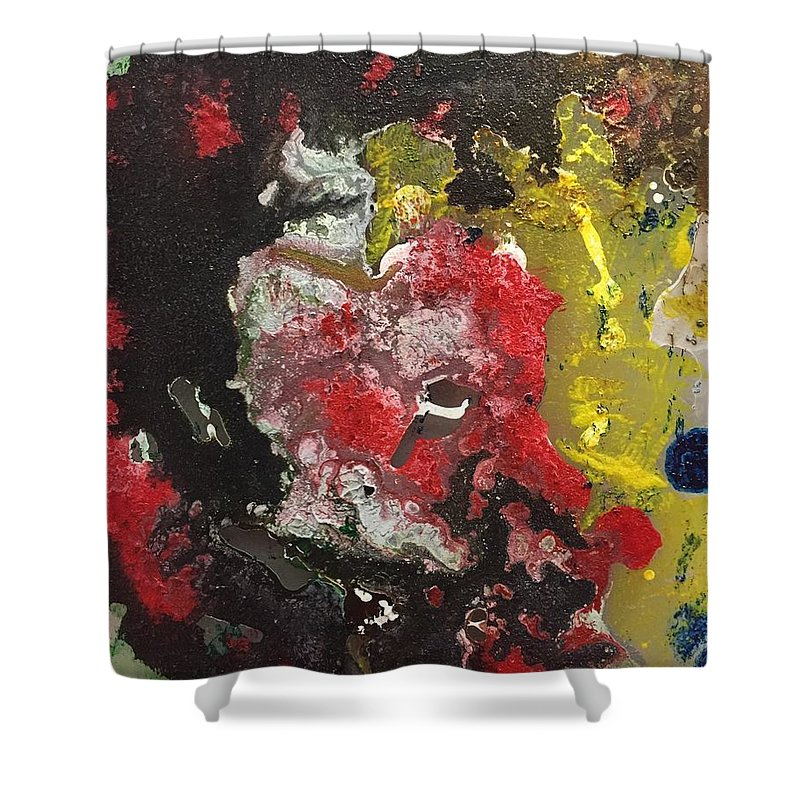 Acrylic Abstract Painting On 1/4 Acrylic Plexi Glass - This Piece Is Part Of My Special 'big Bang' Collection Shower Curtain featuring the painting Acrylic Abstract 15-v.vvv by Virginia Margarita