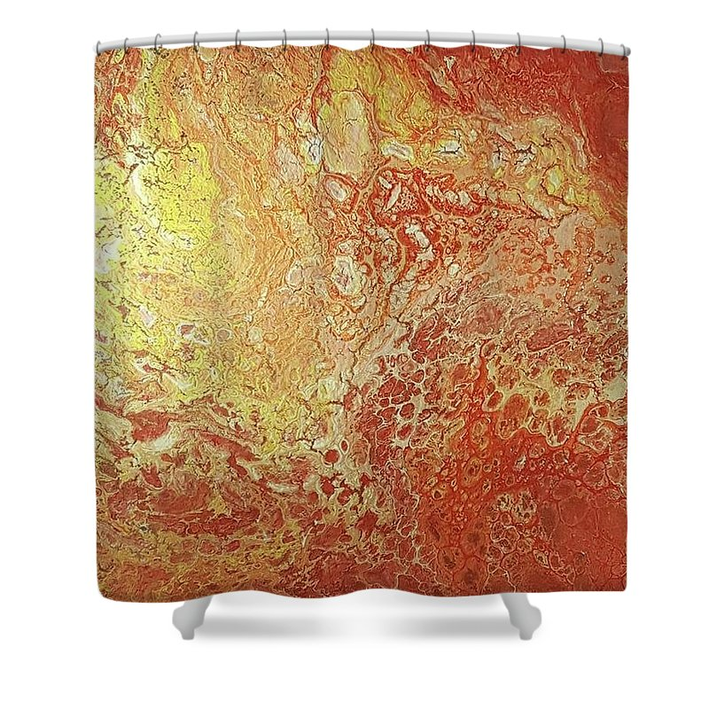 Acrylic Dirty Pour With Red Yellows Orange And Gold Shower Curtain For Sale By Cynthia Silverman