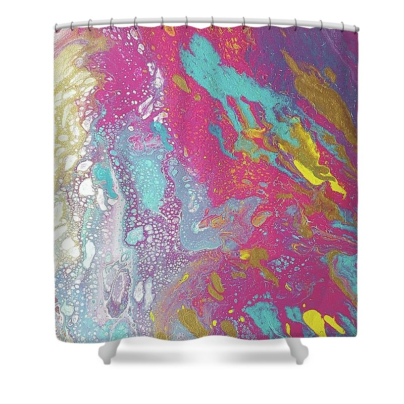 Acrylic Pour With Teal Aqua Yellow Gold Dark And Light Pink Shower Curtain For Sale By Cynthia Silverman