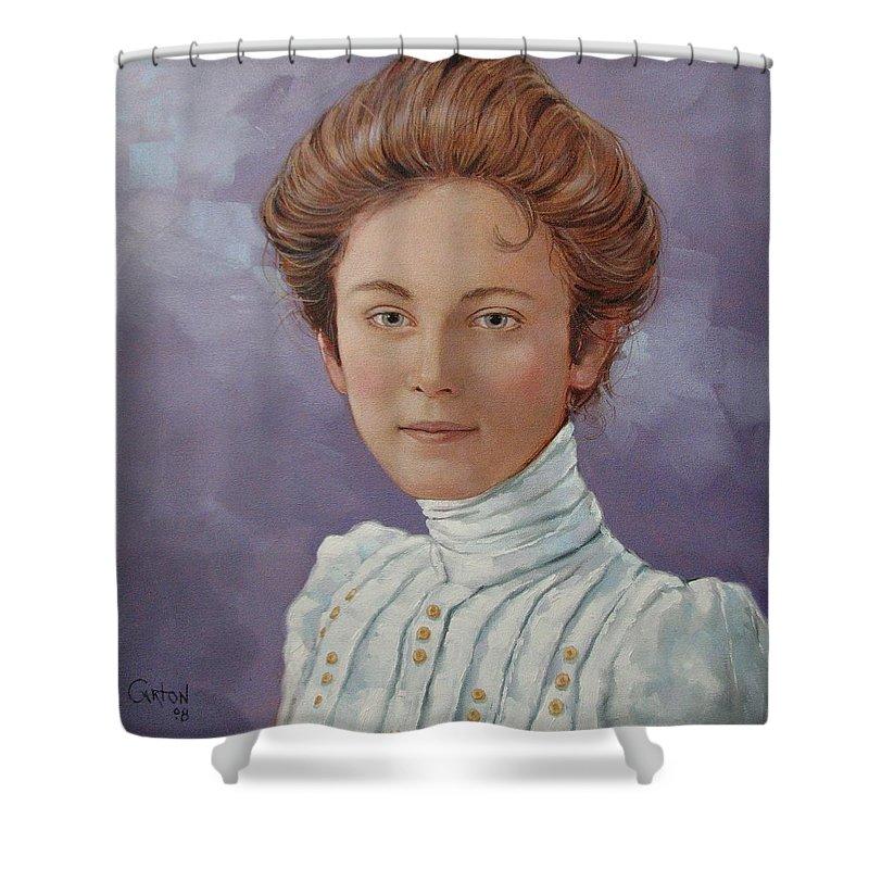 Posthumous Portrait Shower Curtain featuring the painting Ada Douglas by Jerrold Carton