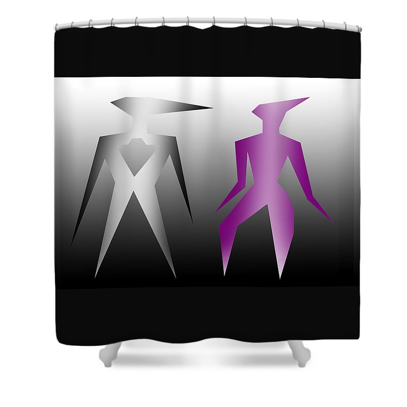 Adam Shower Curtain featuring the digital art Adam And Eve by XERXEESE Color Schemes