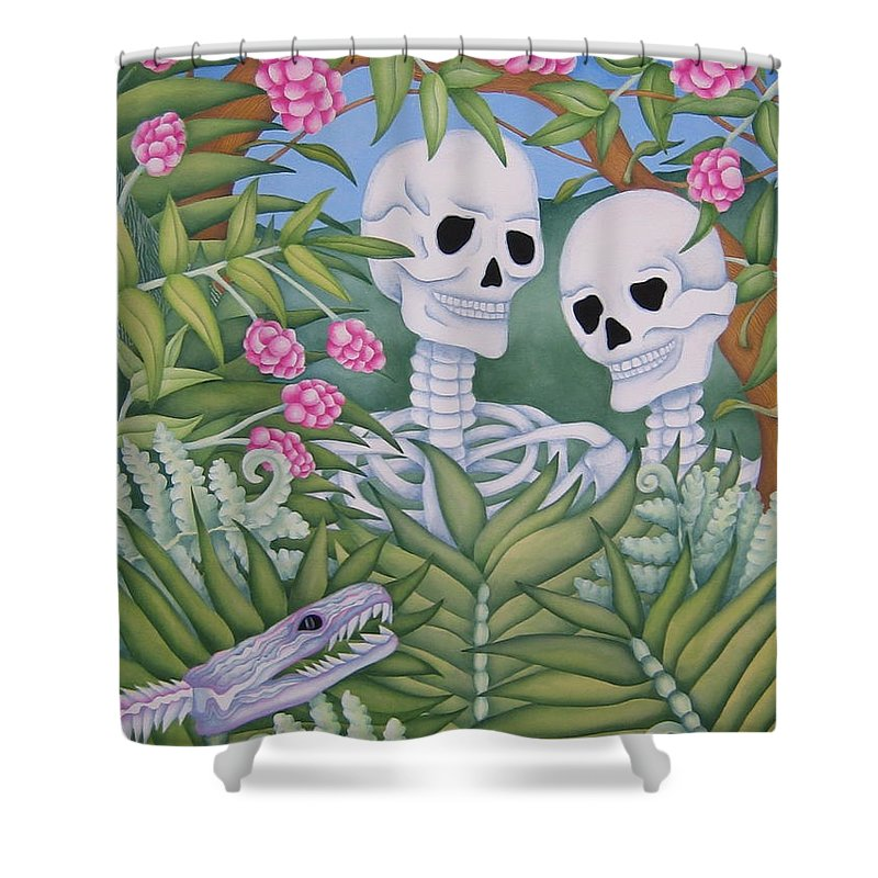 Calavera Shower Curtain featuring the painting Adam And Eve by Jeniffer Stapher-Thomas
