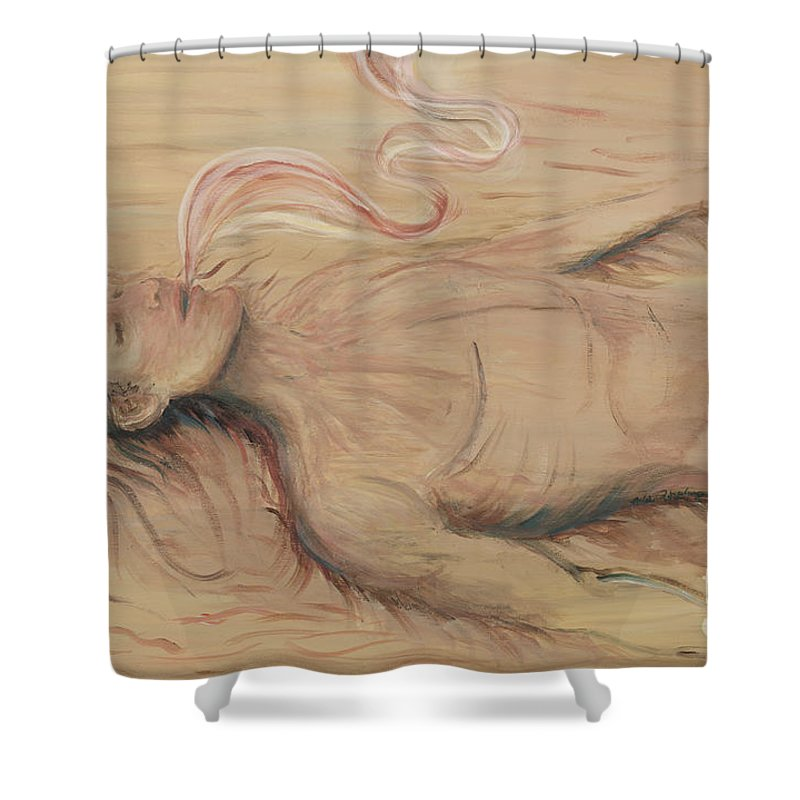 Adam Shower Curtain featuring the painting Adam And The Breath Of God by Nadine Rippelmeyer