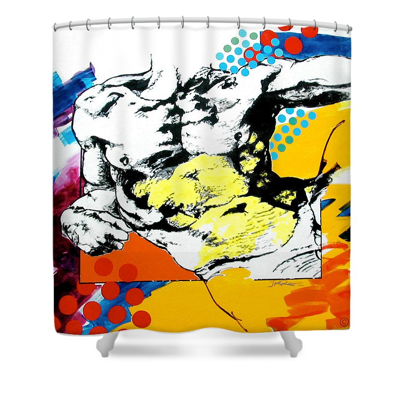 Pop Shower Curtain featuring the painting Adam by Jean Pierre Rousselet