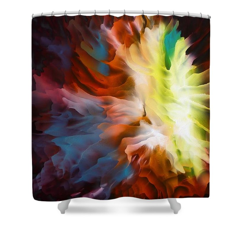 Abstract Art Shower Curtain featuring the painting Adding Fuel To The Fire by Tara Baden