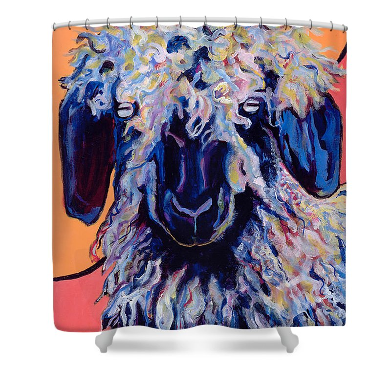 Goat Print Shower Curtain featuring the painting Adelita  by Pat Saunders-White
