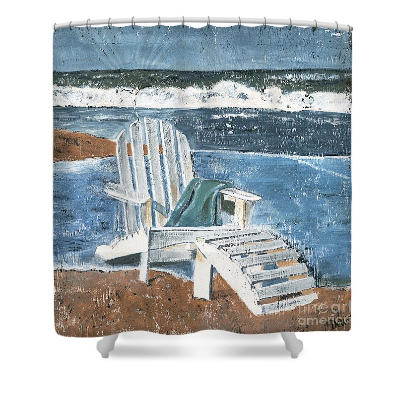 Adirondack Chair Shower Curtain Featuring The Painting By Debbie DeWitt