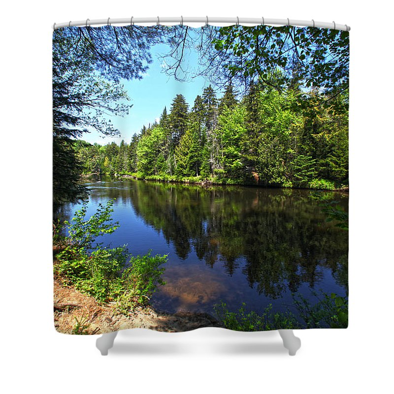 Adirondack Lake Water Pond Trees Pine Shower Curtain featuring the photograph Adirondack Waters by Robert Och