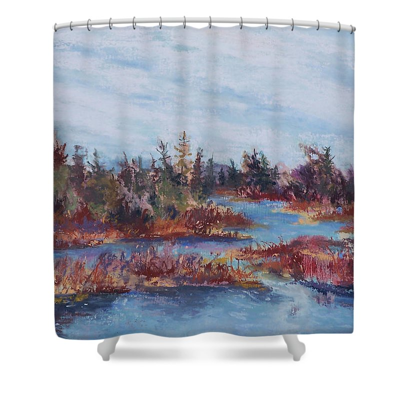 Old Forge Shower Curtain featuring the pastel Adirondak Concerto by Alicia Drakiotes