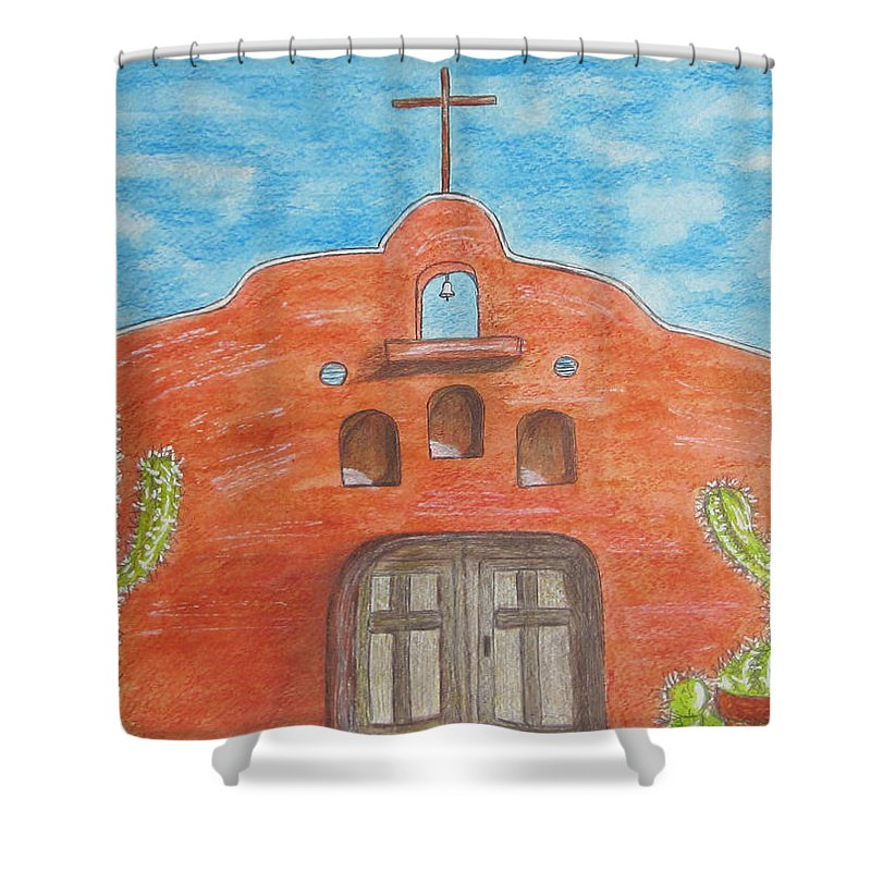 Adobe Shower Curtain featuring the painting Adobe Church And Cactus by Kathy Marrs Chandler