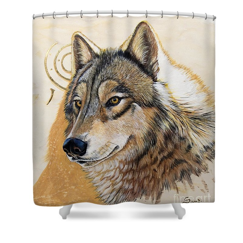 Acrylics Shower Curtain featuring the painting Adobe Gold by Sandi Baker