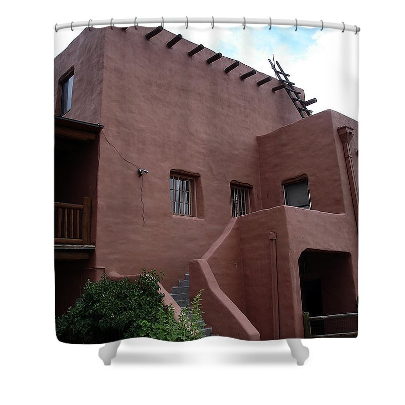 Santa Fe Shower Curtain featuring the photograph Adobe House At Red Rocks Colorado by Merja Waters