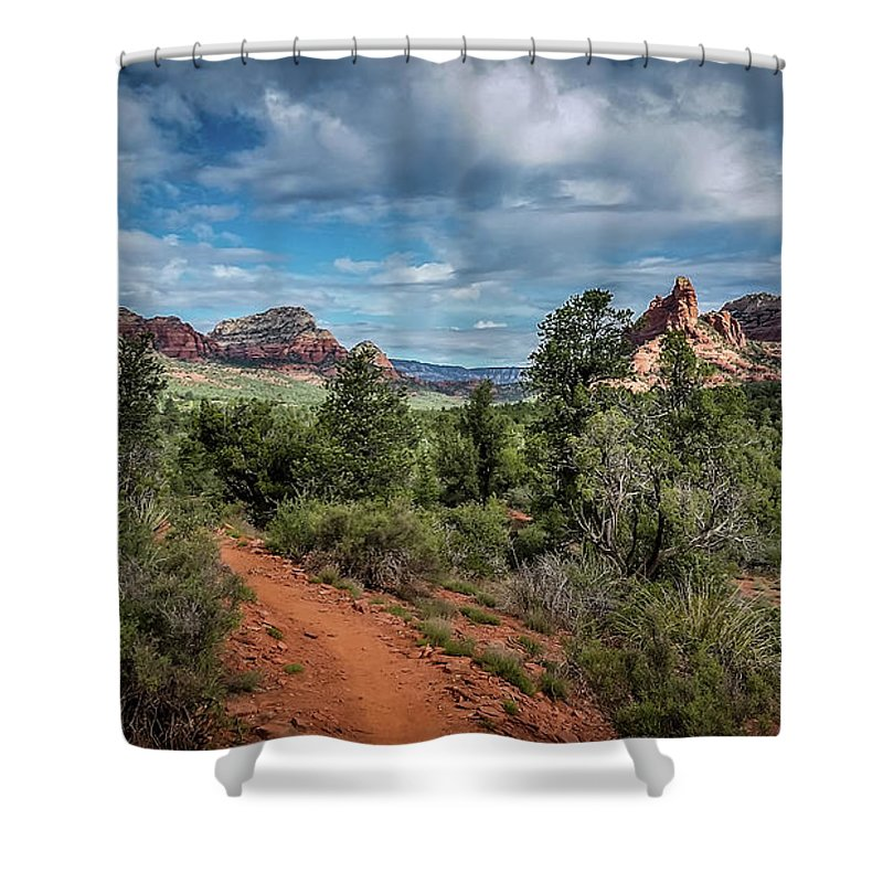 Landscape Shower Curtain featuring the photograph Adobe Jack Trail by Terry Ann Morris