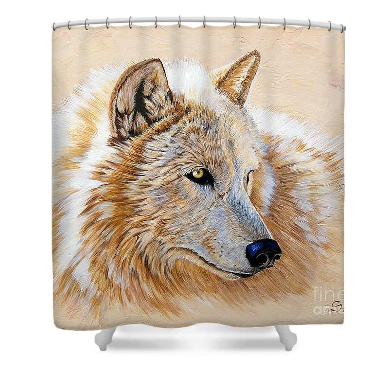 Acrylic Shower Curtain featuring the painting Adobe White by Sandi Baker