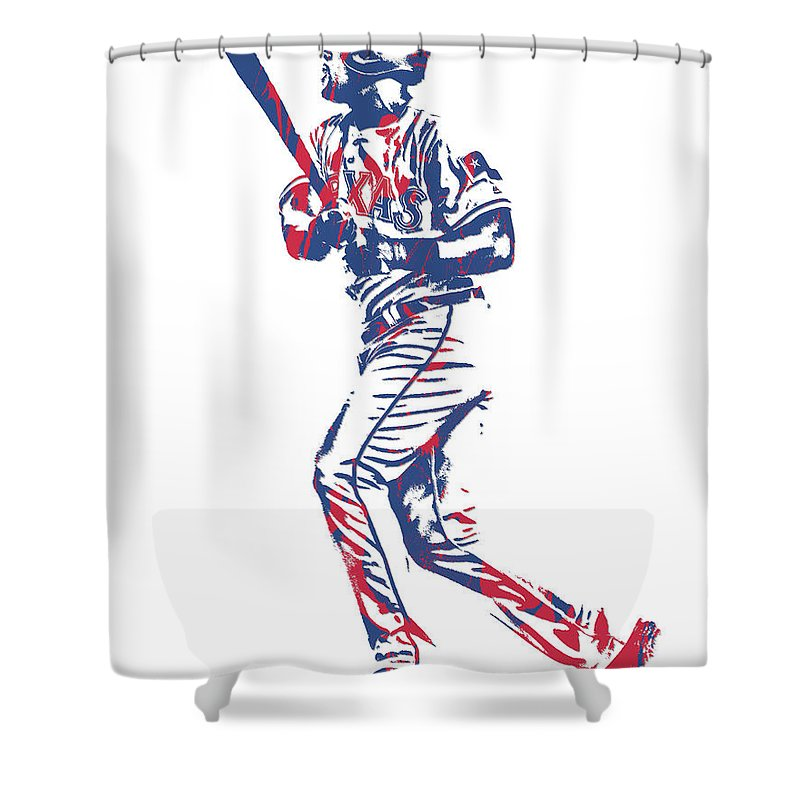 Adrian Beltre Shower Curtain Featuring The Mixed Media Texas Rangers Pixel Art 3 By