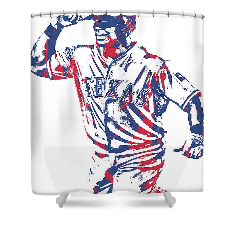 Adrian Beltre Shower Curtain Featuring The Mixed Media Texas Rangers Pixel Art 4 By
