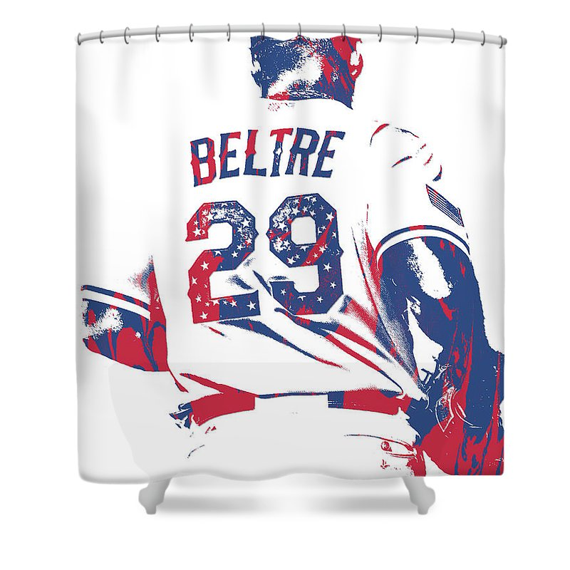 Adrian Beltre Shower Curtain Featuring The Mixed Media Texas Rangers Pixel Art 5 By