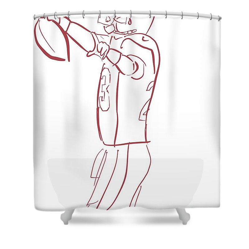 Ad Shower Curtain featuring the painting Adrian Peterson Cardinals by Jack Bunds