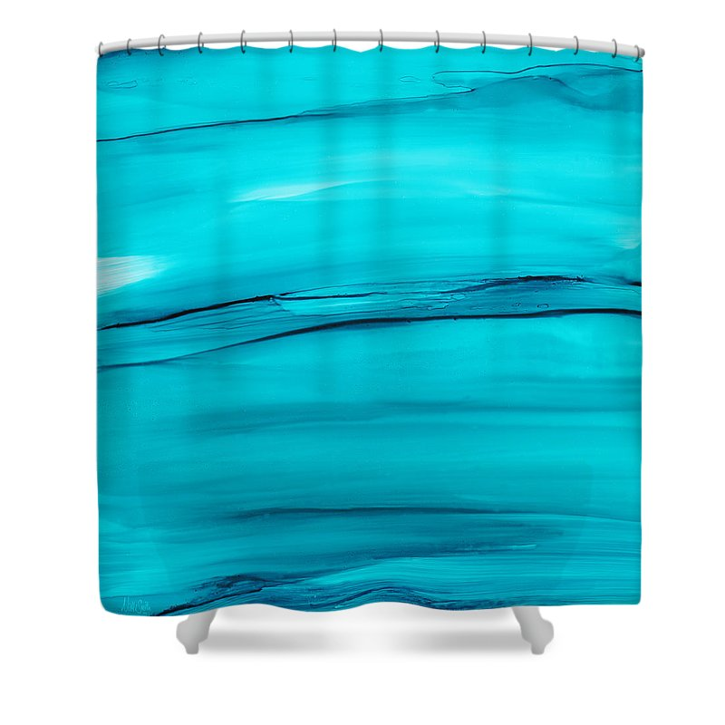 Blue Shower Curtain featuring the painting Adrift In A Sea Of Blues Abstract by Nikki Marie Smith