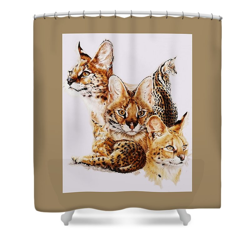 Serval Shower Curtain featuring the drawing Adroit by Barbara Keith