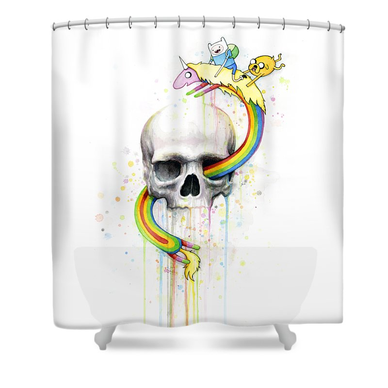 Adventure Shower Curtain Featuring The Painting Time Skull Jake Finn Lady Rainicorn Watercolor By Olga