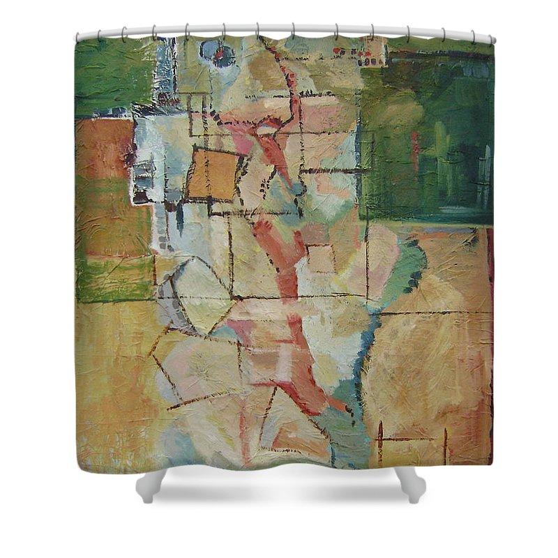Abstract Art Shower Curtain featuring the painting Aerial by Ginger Concepcion