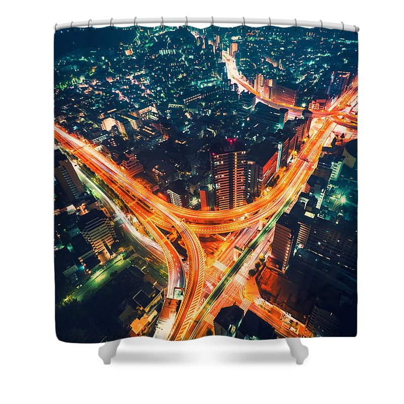 Japan Shower Curtain featuring the photograph Aerial View Of A Massive Highway Intersection In Tokyo by Michiko Tierney